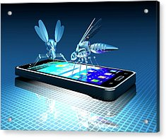 Smartphone With Nano Bugs Acrylic Print by Victor Habbick Visions