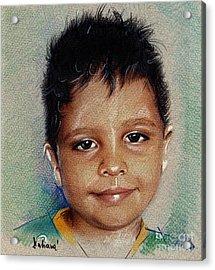 Smile - Colored Pencils Portrait Drawing Acrylic Print by Daliana Pacuraru