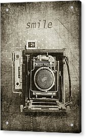 Smile For The Camera - Sepia Acrylic Print by Karen Stephenson