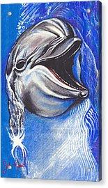 Smiling Dolphin Acrylic Print by John Keaton