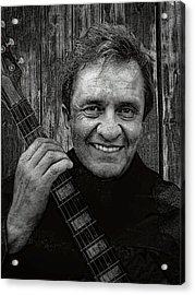 Smiling Johnny Cash Acrylic Print by Daniel Hagerman