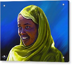 Acrylic Print featuring the painting Smiling Lady by Anthony Mwangi
