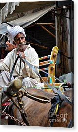 Smiling Man Drives Horse Carriage In Lahore Pakistan Acrylic Print
