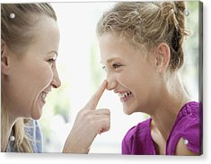 Smiling Mother Touching Daughters Nose Acrylic Print by Sam Edwards
