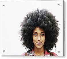 Smiling Woman With Afro Hairstyle Acrylic Print by Thomas Barwick