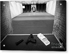 Smith And Wesson 9mm Handgun With Ammunition At A Gun Range In Florida Acrylic Print by Joe Fox