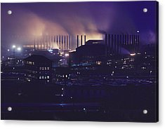 Smoke And Flame Rise Above The Mills Acrylic Print by B. Anthony Stewart