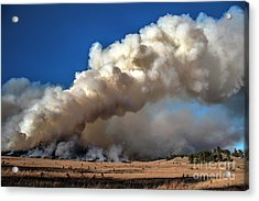 Smoke Column From The Norbeck Prescribed Fire. Acrylic Print