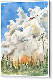 Smoke Jumpers Acrylic Print by John Norman Stewart