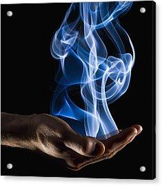Smoke Wisps From A Hand Acrylic Print by Corey Hochachka