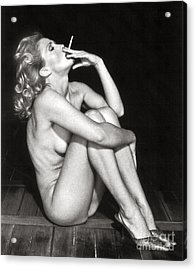 Acrylic Print featuring the photograph Smoking Nude  by Silva Wischeropp