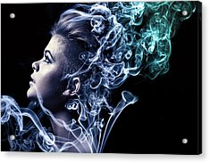 Smoking Acrylic Print by Samuel Whitton