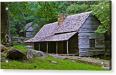 Smoky Mountain Cabins Acrylic Print by Frozen in Time Fine Art Photography