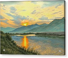 Smoky Sunrise-yellowstone River   Acrylic Print by Paul Krapf
