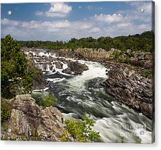 Smooth Flow At Great Falls  Acrylic Print by Dale Nelson