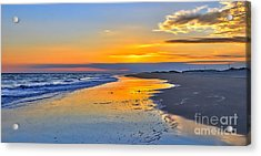 Smooth Sunset On Ocracoke Outer Banks Acrylic Print by Dan Carmichael
