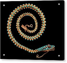 Snake Necklace, 1844 Gold With Pave-set Diamonds, Garnets And Turquoises Acrylic Print