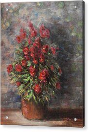 Acrylic Print featuring the painting Snapdragons by Katalin Luczay