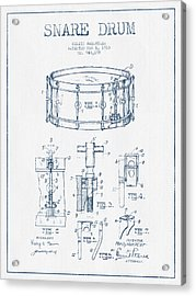 Snare Drum Patent Drawing From 1910  - Blue Ink Acrylic Print