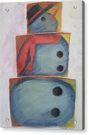 S'no Man Acrylic Print by Claudia Goodell