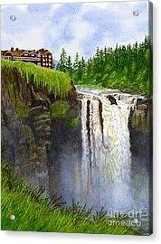 Snoqualmie Falls Vertical Design Acrylic Print by Sharon Freeman