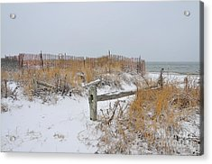 Snow And Sand Acrylic Print by Catherine Reusch Daley