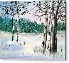 Snow And Trees Acrylic Print