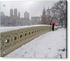 Snow At Bow Bridge Acrylic Print