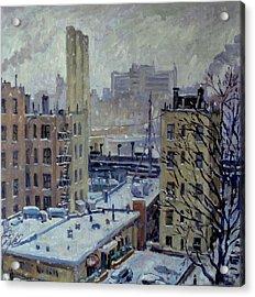 Snow At Dusk New York City Acrylic Print