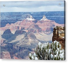 Snow At The Grand Canyon Acrylic Print by Laurel Powell