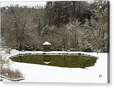 Snow At The Pond Acrylic Print by Michael Waters