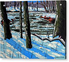 Snow Back On The Eel Acrylic Print by Charlie Spear