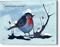 Acrylic Print featuring the painting Snow Bird From Needles by Anne Duke