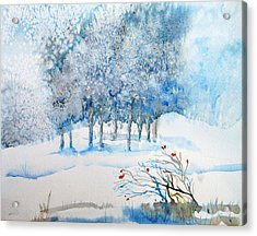 Snow Blizzard In The Grove  Acrylic Print by Trudi Doyle