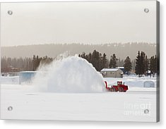 Snow Blower Clearing Road In Winter Storm Blizzard Acrylic Print by Stephan Pietzko