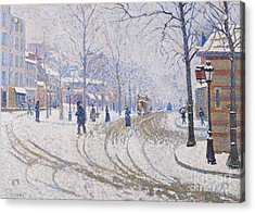 Snow  Boulevard De Clichy  Paris Acrylic Print by Paul Signac