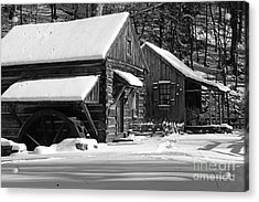 Snow Bound In Black And White Acrylic Print by Paul Ward
