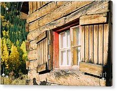 Snow Cabin Window Acrylic Print by Teri Brown