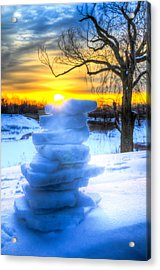 Snow Candle - Sunrise North Of Chicago 1-8-14 002  Acrylic Print by Michael  Bennett
