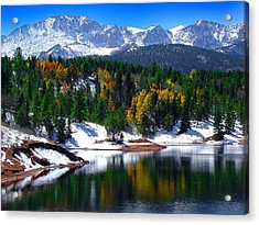 Snow Capped Pikes Peak At Crystal  Acrylic Print by John Hoffman
