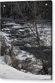 Snow Capped Stream Acrylic Print by Adam Cornelison