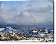 Snow Clouds Over Flaming Gorge Acrylic Print by Eric Nielsen