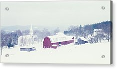 Snow Covered Barn And A Church Acrylic Print by Panoramic Images
