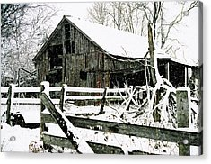 Snow Covered Barn Acrylic Print by Kimberleigh Ladd