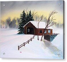Snow Covered Bridge Acrylic Print by John Burch
