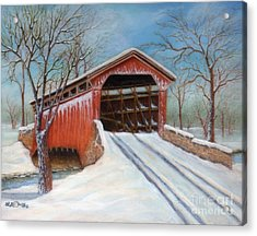 Snow Covered Bridge Acrylic Print
