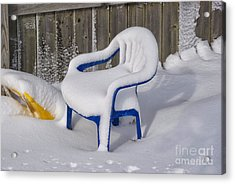 Snow Covered Chair Acrylic Print by Thomas Woolworth