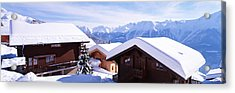 Snow Covered Chapel And Chalets Swiss Acrylic Print by Panoramic Images