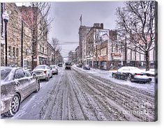 Acrylic Print featuring the photograph Snow Covered High Street And Cars In Morgantown by Dan Friend