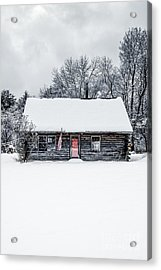 Snow Covered Log Cabin Acrylic Print